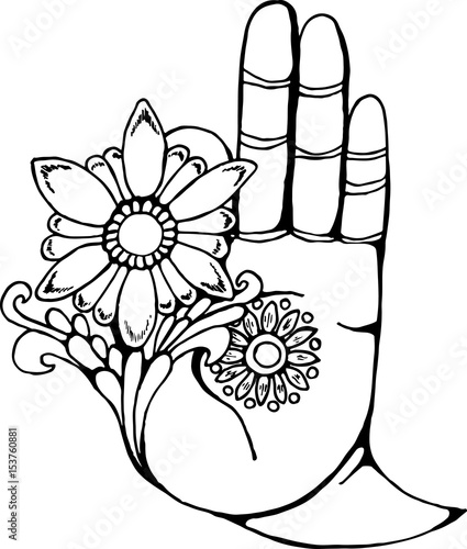 Illustration Of A Buddha Hand Holding A Flower Black And White