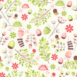 Spring fresh seamless pattern with birds, leaves, flowers - 153788641