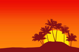 Tropical palm tree silhouette against sunset sky. 3d rendering
