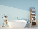 blue spa bathroom. 3d rendering - 153802824