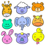 Doodle of animal smile cute collection - 153806625