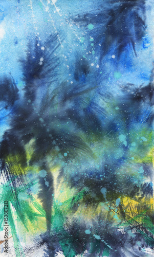 Watercolor night exotic landscape. Painting tropical palm background with stars. Hand drawn abstract illustration