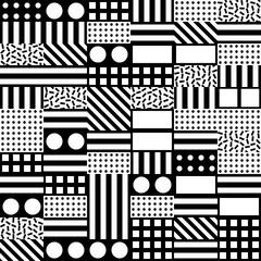 Decorative geometric shapes tiling. Monochrome irregular pattern.  Abstract  background. Artistic decorative ornamental lattice