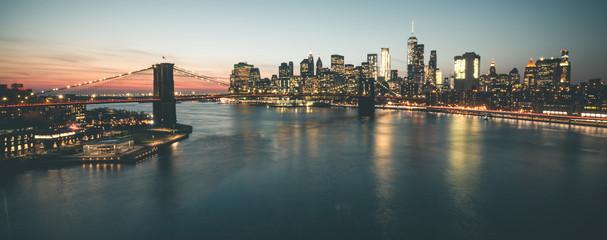 Evening Gloom around Brooklyn Bridge and Manhattan - New York