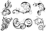 Floral swirls design elements. Vector illustration. - 153815676