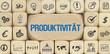 Produktivität / Würfel mit Symbole