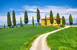 Tuscany Landscape with Cypress Trees - 153820692