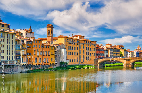 Florence Architecture Italy Cityscape River Reflection.