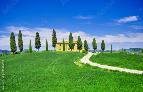 Tuscany Tuscan Landscape with s shaped Road.