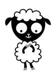 contented baby sheep in cartoon - 153830284