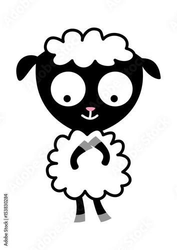 contented baby sheep in cartoon