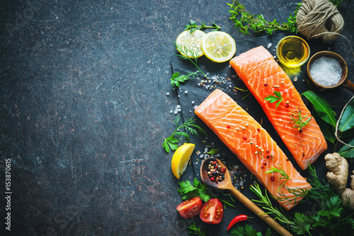 Fresh salmon fillet with aromatic herbs, spices and vegetables © Alexander Raths