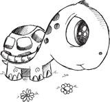 Doodle Turtle Vector Illustration Art