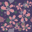 Pink and lilac flowers on dark blue background with artistic spots, vector seamless pattern - 153898435