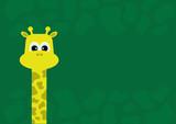 Animal cartoon - long necked giraffe vector on green background with skin texture