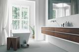 Modern bright sunny white bathroom interior - 153906821