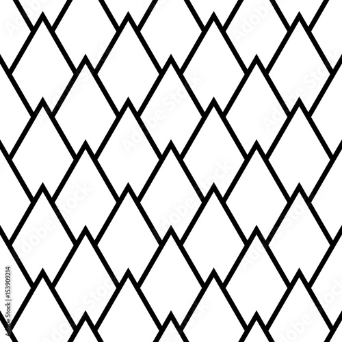Geometric monochrome background. Black and white seamless pattern - 153909214