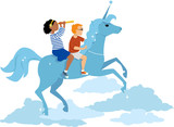 Girl and boy riding a unicorn in the sky, EPS 8 vector illustration, no transparencies