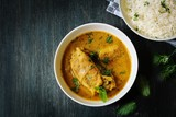 Chicken Curry served with Basmati Rice, top down view - 153980683