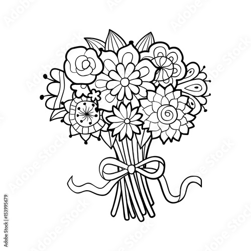 Flower bouquet decorated with bow. Black and white outline vector illustration, isolated on white. Antistress coloring page for adults