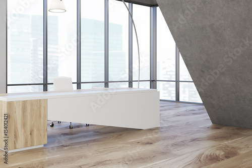 Gray triangular office, white table, side - 154012421