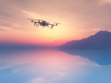 3D drone flying over a sunset ocean