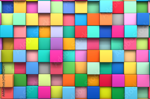 3D rendering abstract background of multi-colored cubes