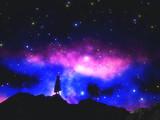 3D female in cloak against a space sky