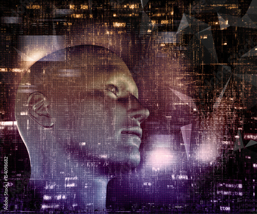 3D techno background with male head and programming code