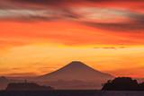 逗子マリーナ夕焼け富士山
