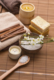 Composition of bath tropical spa treatment on mat