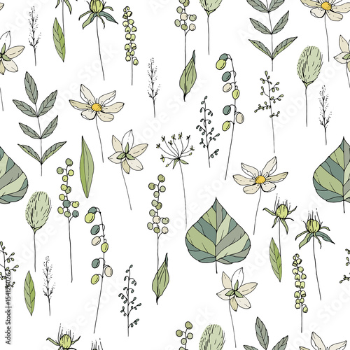 Seamless season pattern with contour wild flowers, herbs and leaves. Endless texture for floral summer design with plants © Anna Tyukhmeneva