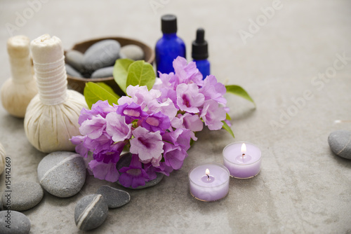Plexiglas Spa Tropical spa treatment on gray background