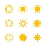 sun icons set on whi...