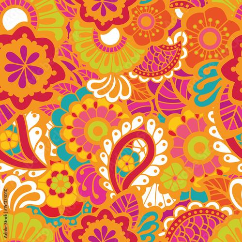 Cotton fabric Paisley seamless colorful pattern
