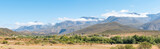 Panorama of farm landscape with Swartberg mountains near Hoeko