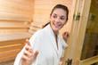 Lady at entrance to sauna