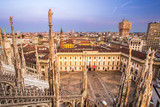 Milan, Italy panorama. View from Milan Cathedral. Royal Palace of Milan - Palazzo Realle and Velasca Tower in the background
