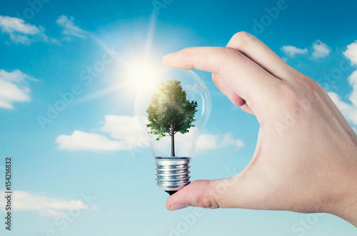 Energy efficiency concept. Abstract composition with tree in bulb Poster