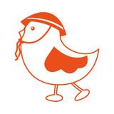 cute little bird walking vector illustration design