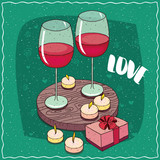 Romantic composition on wooden board, large glasses of red wine and small elegant gift box in pink colors with bow. Near the candles. Hand drawn comic style