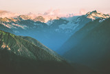 Sunset Mountains peaks and forest Landscape Summer Travel wild nature scenic aerial view .