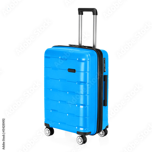 Blue Trolley Luggage Bag Isolated On White Background Vip Trolley