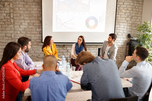 Company employees on business meeting