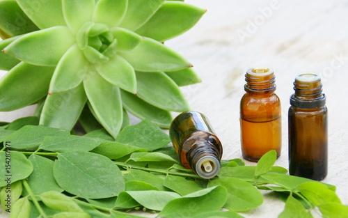 Foto Murales huile essentielle bio, végétale de plante verte sur fond bois