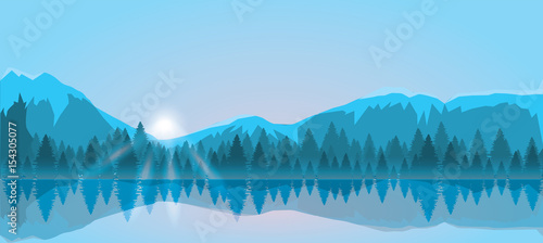 Mount and forest vector illustration. Sunrise - 154305077