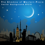 World's famous landmarks and monuments. Western Place.  Vector Illustration, EPS 10.