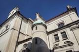 turret of the Baroque catholic church in Leszno.