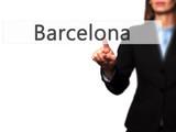 Barcelona - Female touching virtual button.