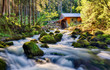 Beauty landscape with river and forest in Austria, Golling - 154345083